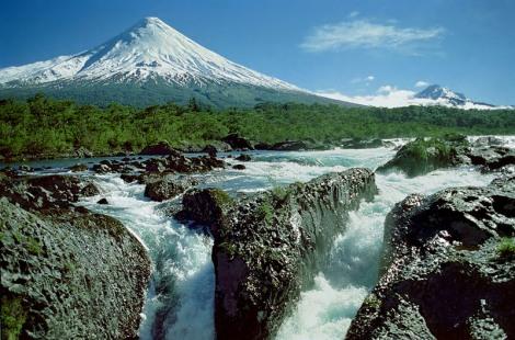 Osorno Volcano Petrohue Waterfall Puerto Varas Chile