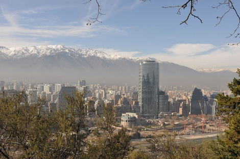 Santiago Chile City and Andes Mountain Range