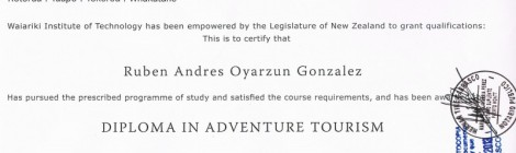 Adventure Tourism Diploma obtained in New Zealand Patagonia Southern Land Expeditions