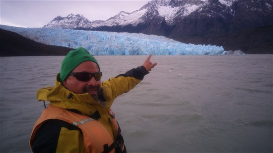 Grey Glacier at the foothill of the Torres Mountain Massif Chile