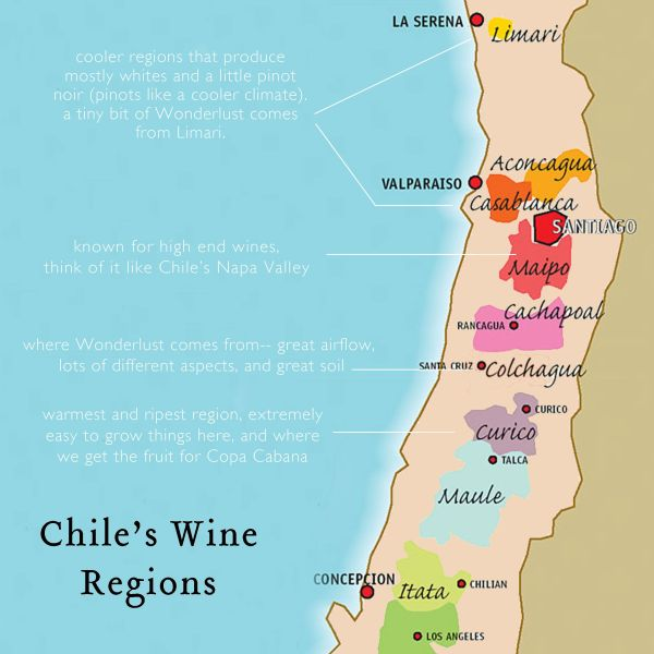 Chile Wine Regions Map