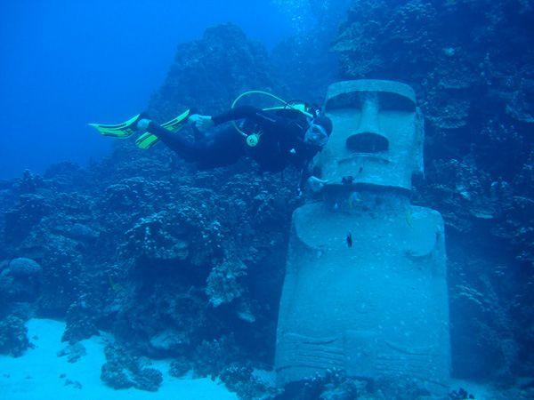 Isla Pascua Moai Under Water Chile